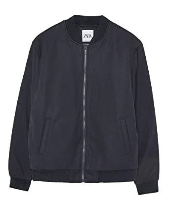 729fe00f Zara Men's Quilted Piqu? Bomber Jacket 8418/404 Blue: Amazon.co.uk ...