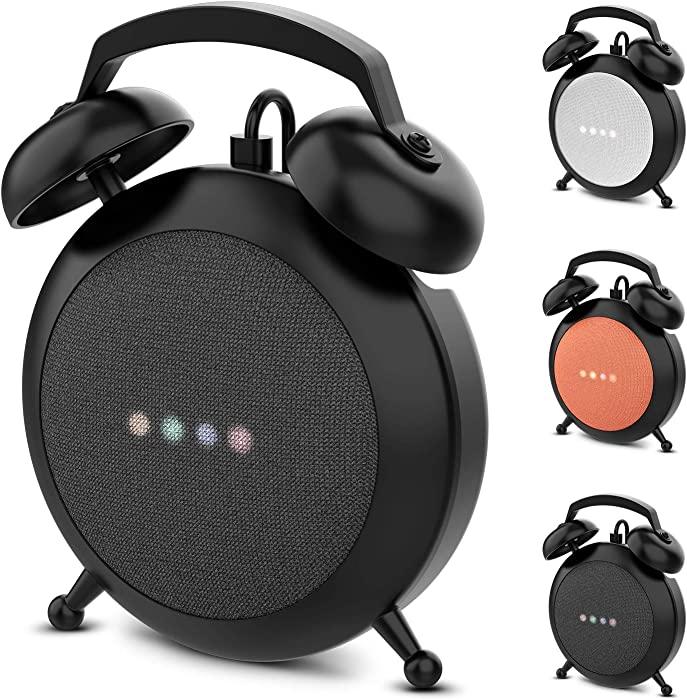 Google Home Mini Stand Holder, Retro Alarm Clock Stand Mount Base Protective Case Compatible with Google Home Mini (Black)