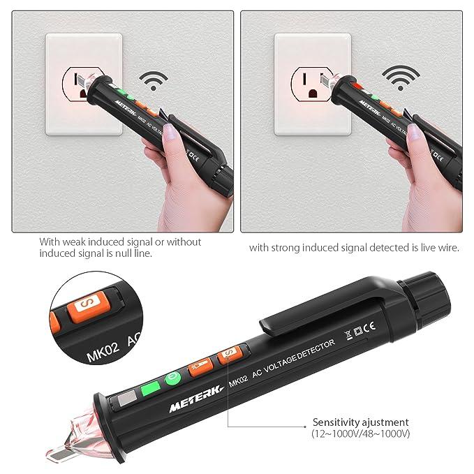 Detector de Voltaje sin contacto, Meterk 12V-1000V Detector De Tension, Electrico Comprobador De Tensión con linterna LED juicio de cable vivo / nulo ...