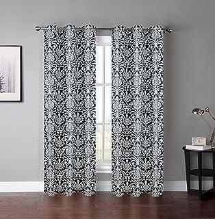 Amazon.com: Black and White Damask Curtain Panel Set of 2, 40x84 ...