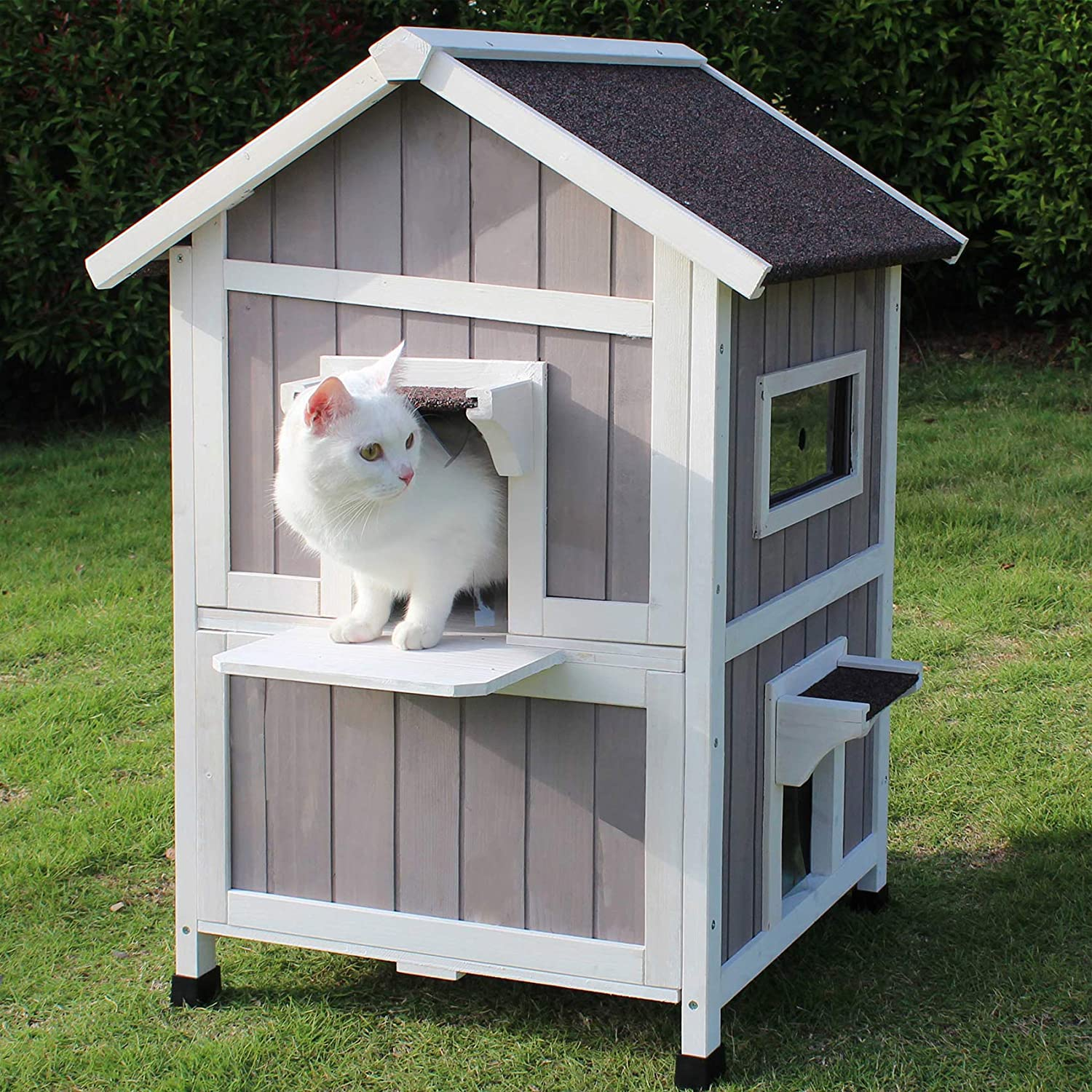 Rockever Feral Cat Shelter Outdoor With Escape Door Rainproof Outside Cat House Two Story For Three Four Cats With Two Mat Color Grey Pet Supplies