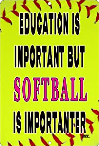 Rogue River Tactical Funny Softball Player Boat Metal Tin Sign Wall Decor Man Cave Bar Education is Important