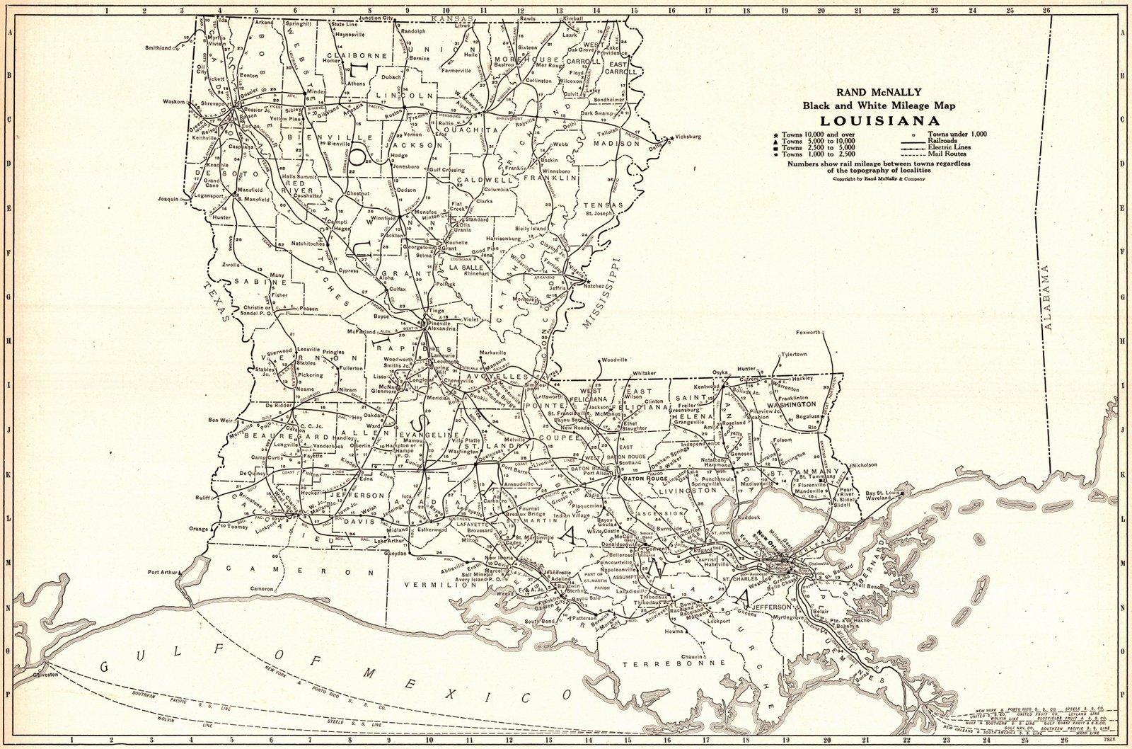 Historic Map   1921 Louisiana- Black and White Mileage Map   Rand McNally and Company
