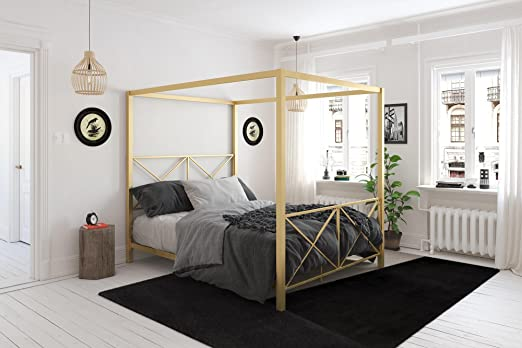 Amazon Com Dhp Rosedale Canopy Bed Gold Queen Kitchen Dining
