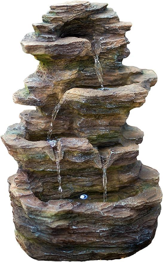 Castillo de 16 pulgadas con fuente de roca Ledgestone con luces LED: pequeña fuente de agua para exteriores para jardines y patios. Diseño hecho a mano. HF-R20-16LT: Amazon.es: Jardín