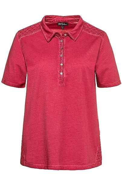 Ulla Popken Damen große Größen bis 62+   Poloshirt   Oil Dyed   Bestickte Einsätze   Knopfleiste   Halbarm   716146