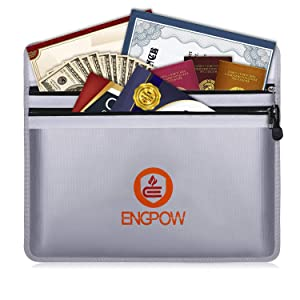 """ENGPOW Fireproof Document Bags 15"""" x 11"""" Two Pockets Two Zippers Fire and Water Resistant Money Bag Fireproof Safe Storage Pouch Envelope for Ipad, Cash, Documents, Jewelry and Passport"""