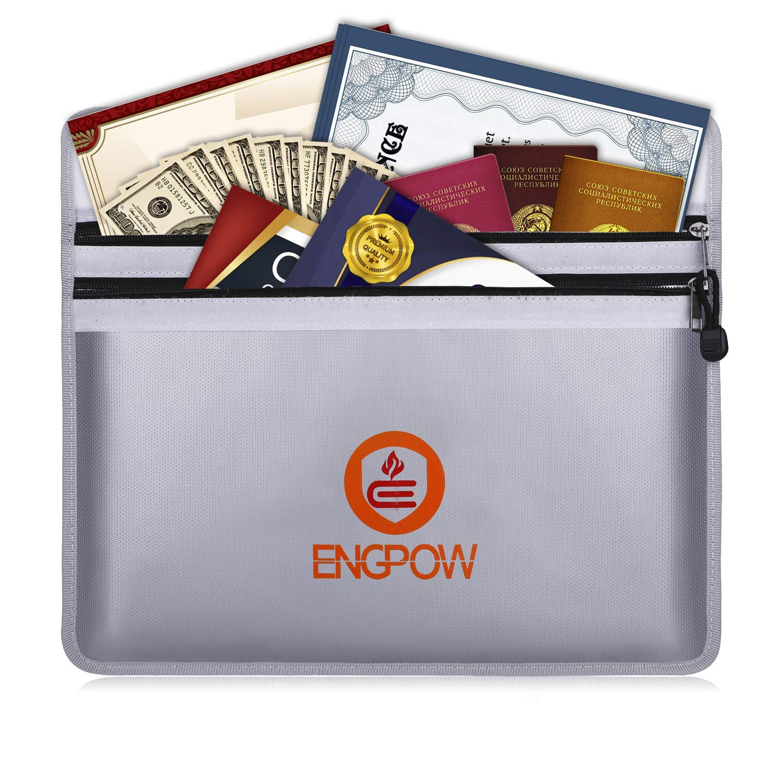ENGPOW Fireproof Document Bags 15'' x 11'' Two Pockets Two Zippers Fire and Water Resistant Money Bag Fireproof Safe Storage Pouch Envelope for Ipad, Cash, Documents, Jewelry and Passport