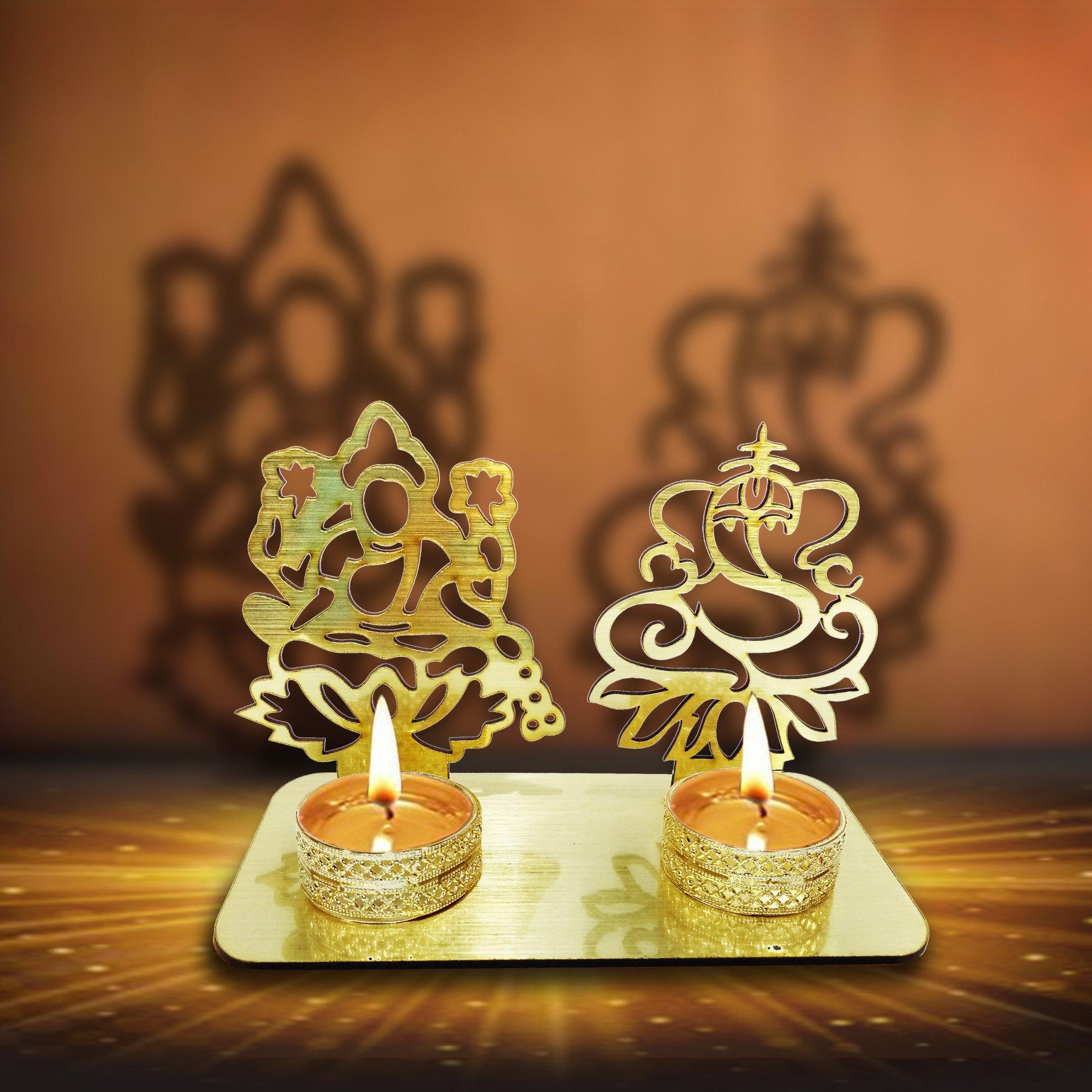 Lakshmi Ganesha ( Shubh Labh) Diwali Shadow Diya. Deepawali Traditional Decorative Diya in Laxmi Ganesh Statue for Home/Office..Religious Tea Light Candle Holder Stand. Diwali Decoration Diwali Gift