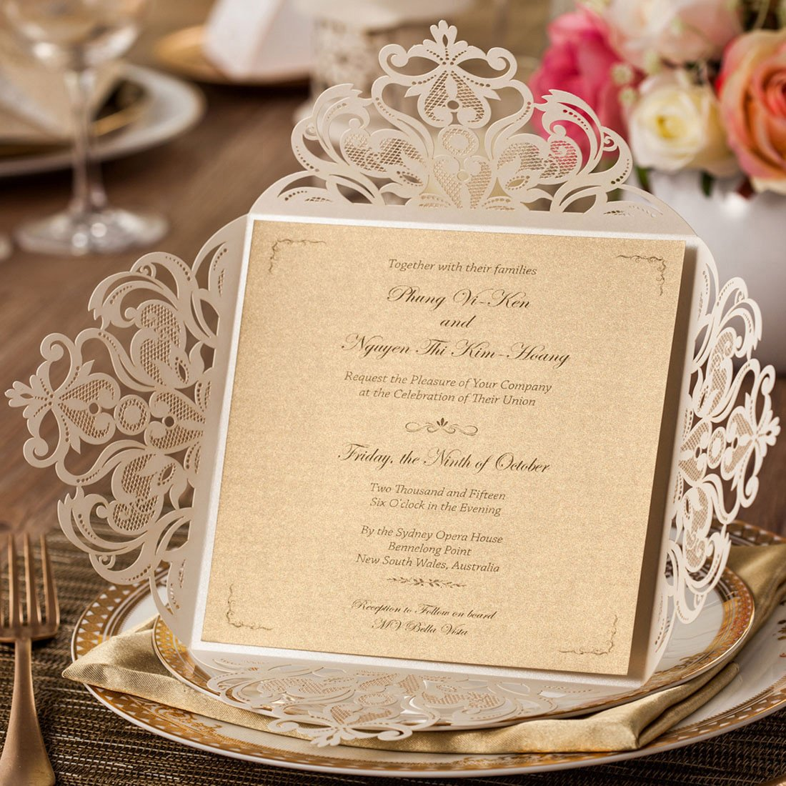 WISHMADE 50x Ivory Laser Cut Square Wedding Invitations Cards with ...