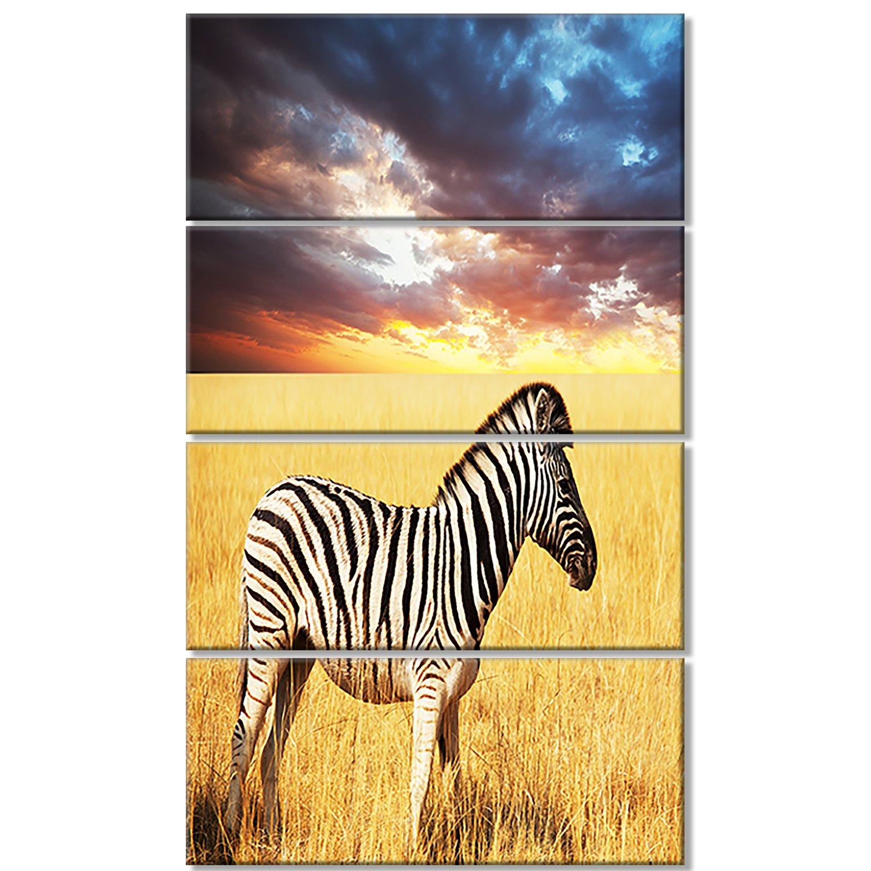 Amazon.com: Design Art Solitary Zebra in African Grassland Extra ...