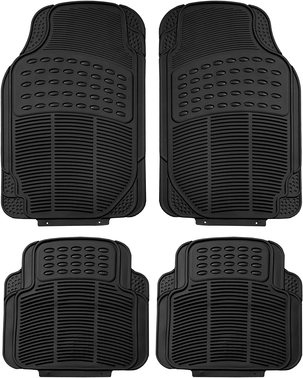 FH Group F11305 Trimmable Rubber Floor Mats (Black) Full Set - Universal Fit for Cars Trucks and SUVs