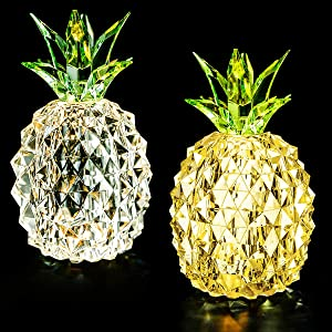 Minfuxin Pineapple Decor Lights Home Decorations for Living Bed Room Table Arrangement, Figurines Collectibles, Women's Gift for Wife Girl Friend,2 Pack