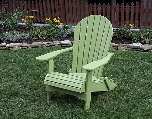Tropical Lime Green-Poly Lumber Folding Adirondack Chair