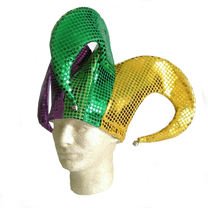 1816b58088f Amazon.com  Shiny Sequin Mardi Gras Fat Tuesday Jester Hat with Bells   Clothing