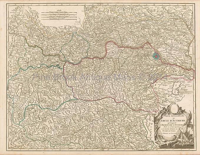 Austria Antique Map Vaugondy 1757 Original Austrian Decor