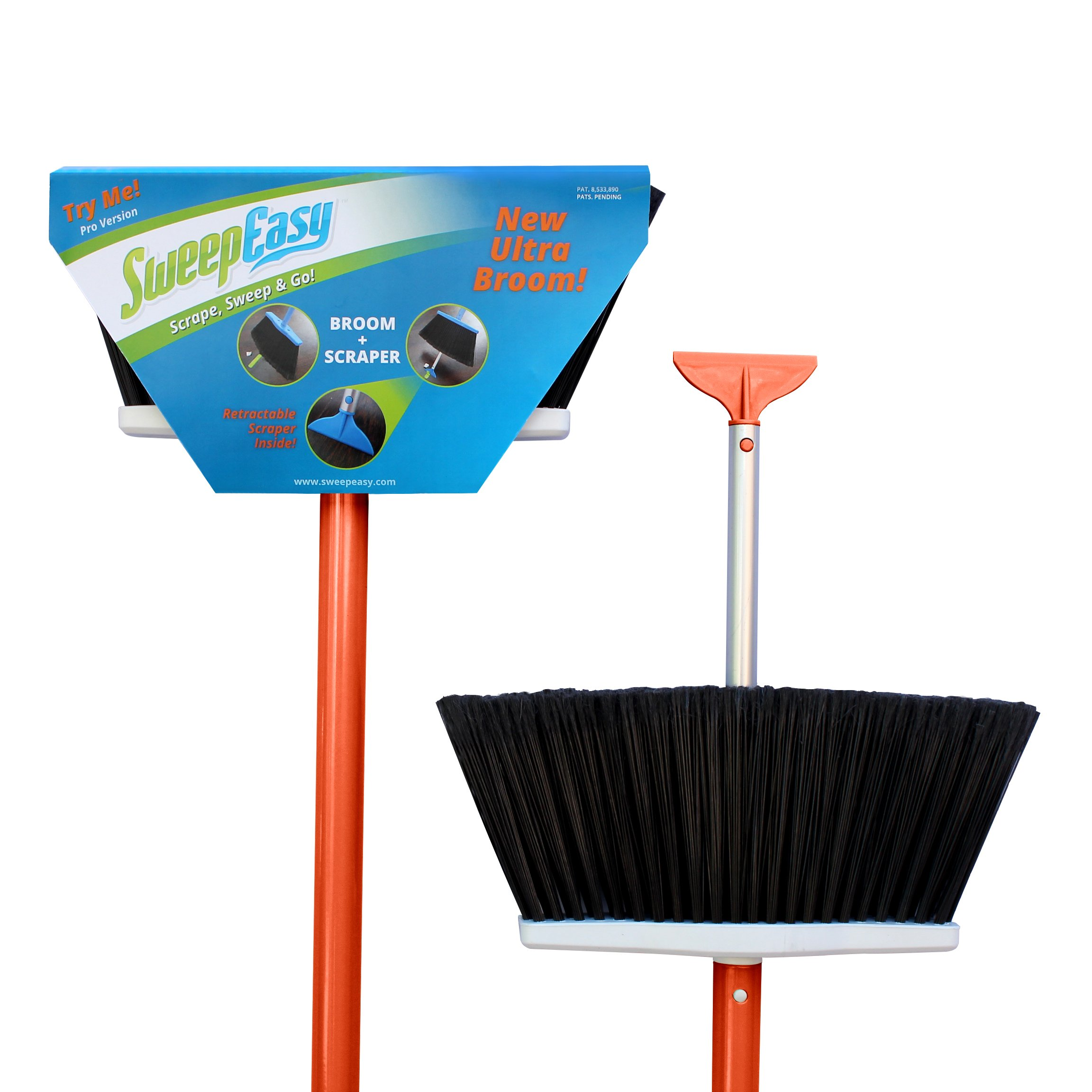 SweepEasy, Broom, As Seen On Shark Tank. For Indoor and Outdoor Use Retractable Handle With Scrapper Making Sweeping Easy With