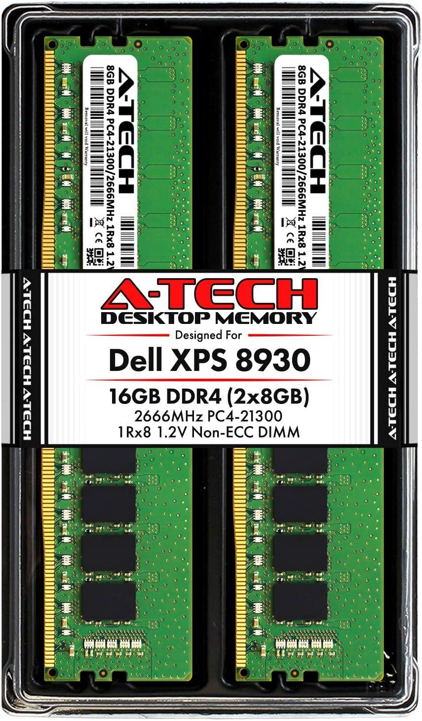 A-Tech 16GB RAM Kit for Dell XPS 8930 Tower - (2 x 8GB) DDR4 2666MHz PC4-21300 Non-ECC DIMM Desktop Memory Upgrade