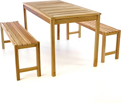 DIVERO Gartenmöbelset Picknickset Sitzgruppe Teakholz Bank Tisch behandelt 135cm
