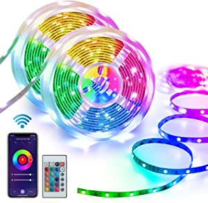 Homeyard Led Strip Lights 50FT Smart WiFi RGB Light Strips Work with Alexa Google Assistant Remote Voice APP Control Music Sync Rope Light Color Changing for Home Kitchen Bedroom Tv Party Tiktok DIY