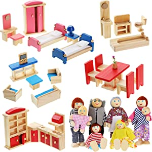 Wooden Dollhouse Furniture Doll House Furnishings with 8 Pieces Winning Doll Family Set, Dollhouse Accessories for Boys Girls Miniature Dollhouse, Family Figures Imaginative Play Toy (Classic Style)