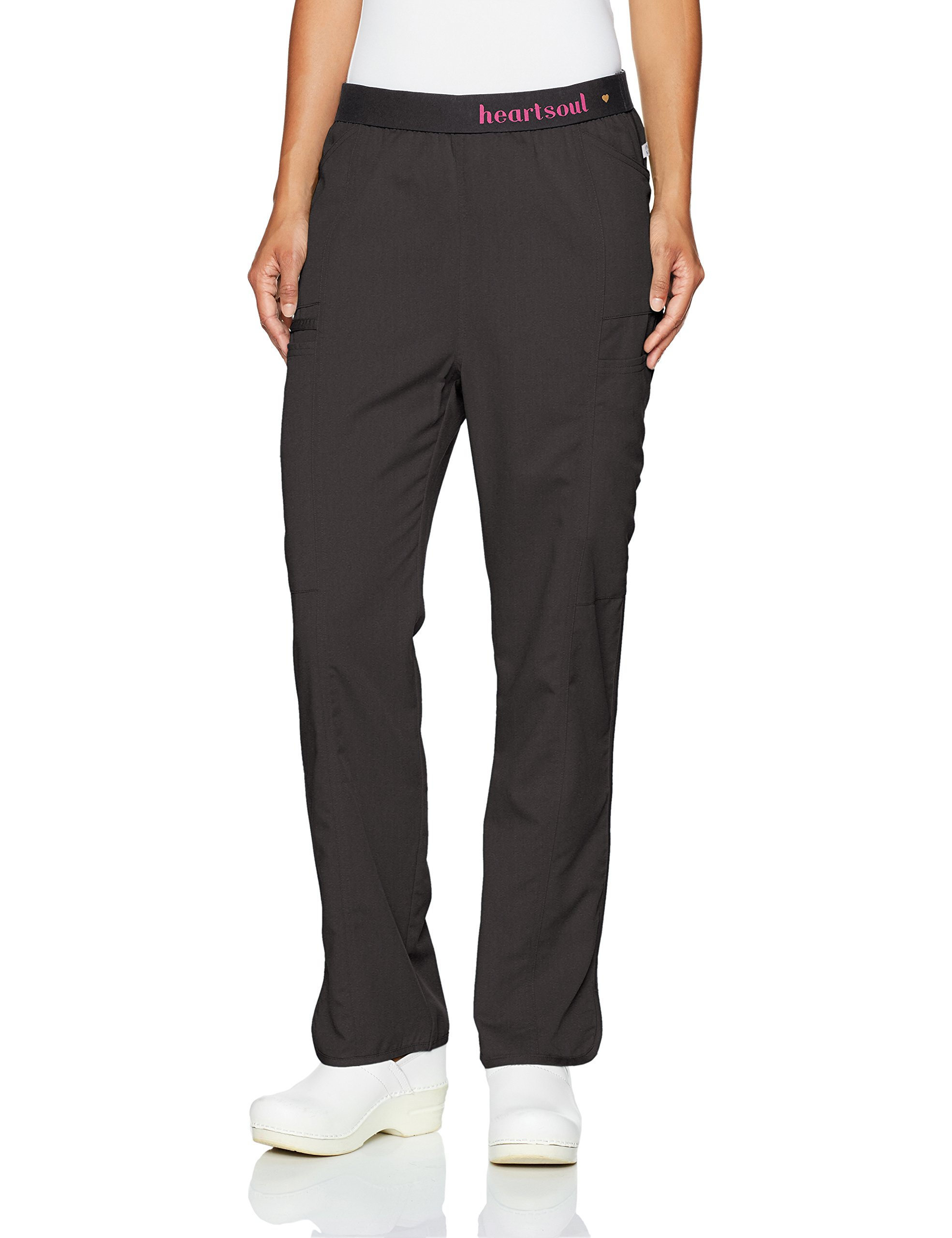 HeartSoul Scrubs Women's Head Over Heelsso in Love Low Rise Pull-on Pant, Black, XX-Small