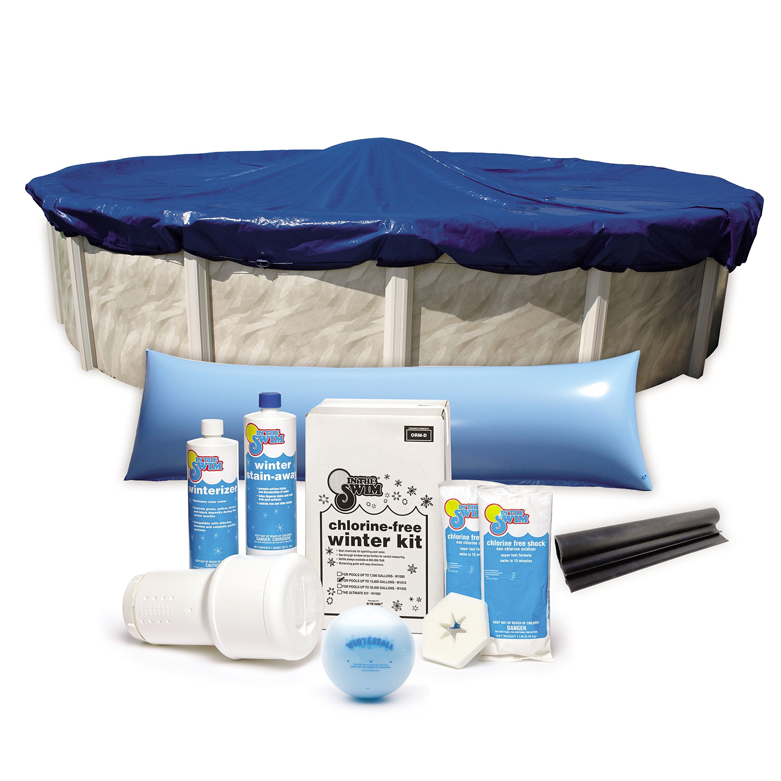 Bundle – 5 Items: 10-Year 18 ft. Round Pool Winter Cover with Cover Clips, Deluxe Pool Winterizing and Closing Chemical Kit, Winter Ball and 4 x 8 ft. Air Pillow by In The Swim