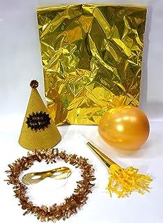 FIESTADEKOR Pack 10 Bolsas COTILLÓN Oro Calidad Extra Gorro Purpurina Happy  New Year (10 Bolsas c8b33ae9de2