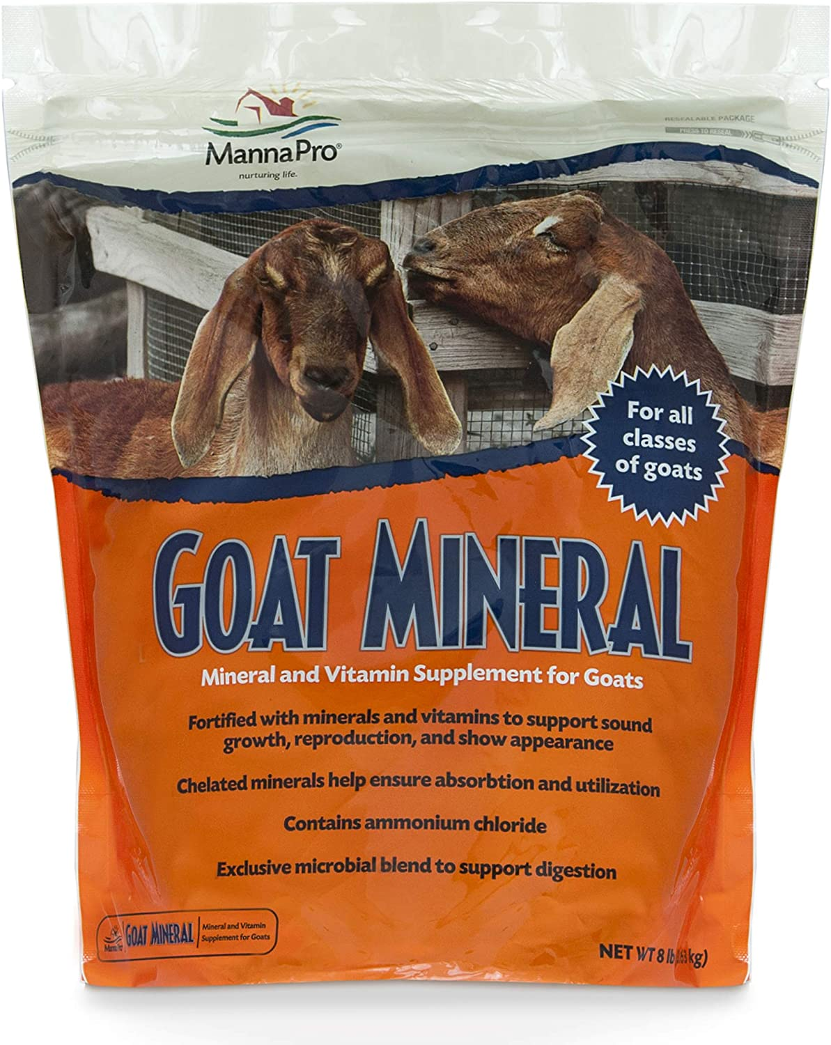 Manna Pro Goat Mineral | Made with Viatimins & Minerals to Support Growth | 8 Pounds: Pet Supplies