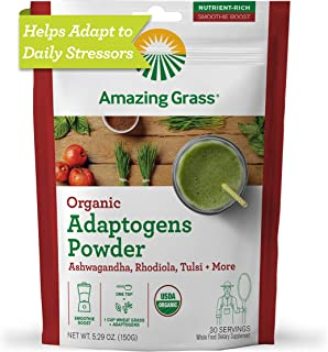 product image for Amazing Grass Adaptogens Booster: Greens Powder with Ashwagandha, Rhodiola, Chaga & Tulsi, Smoothie Booster, 30 Servings