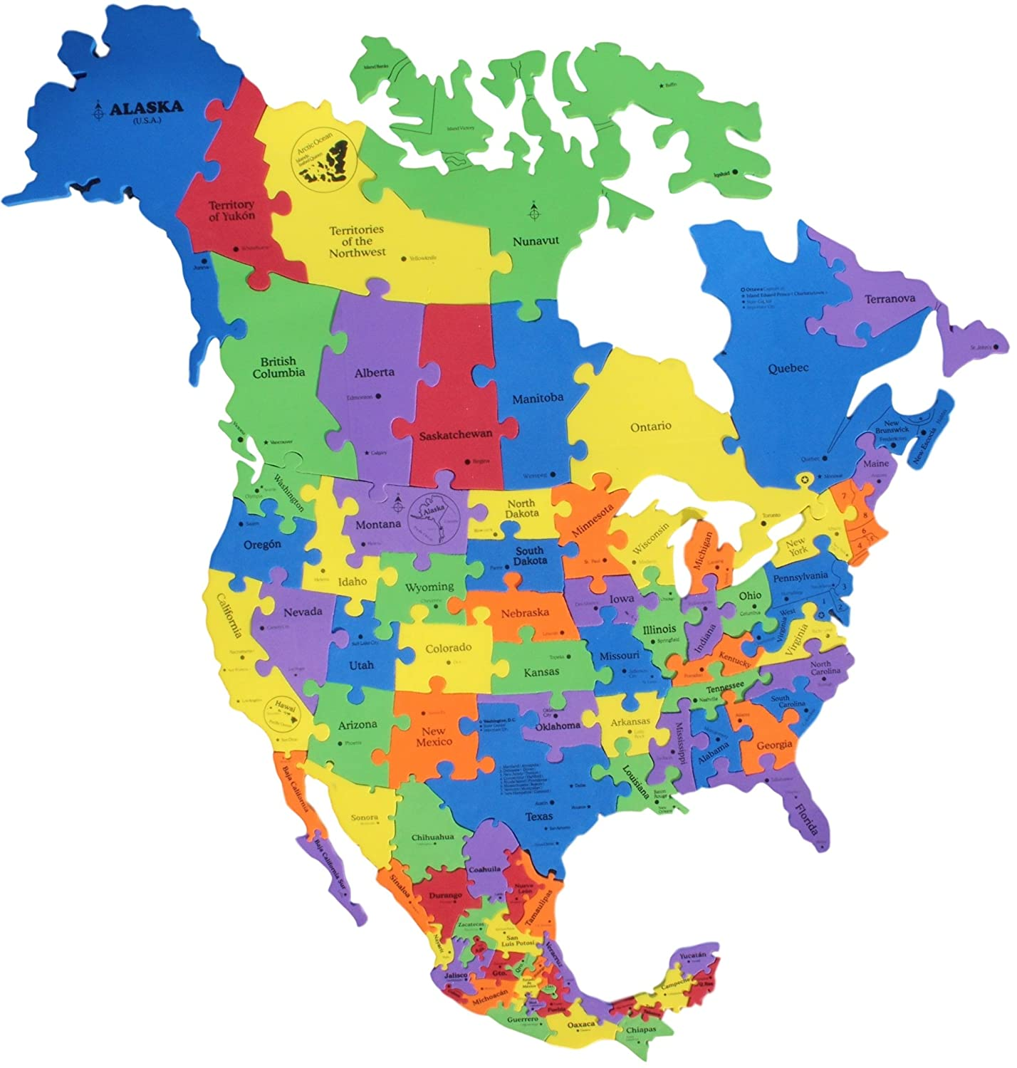 Map Of North America States And Cities.Super Sized North America Foam Map Puzzle 38 X 38 Canada Usa Mexico 82 Pieces States Capitals Big Cities