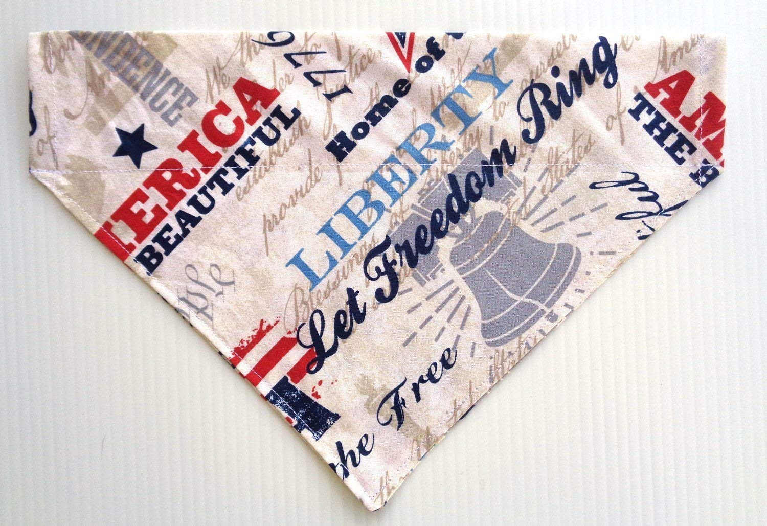 America The Beautiful Land of the Free Patriotic Dog Bandana, Red White and Blue Doggie Petwear