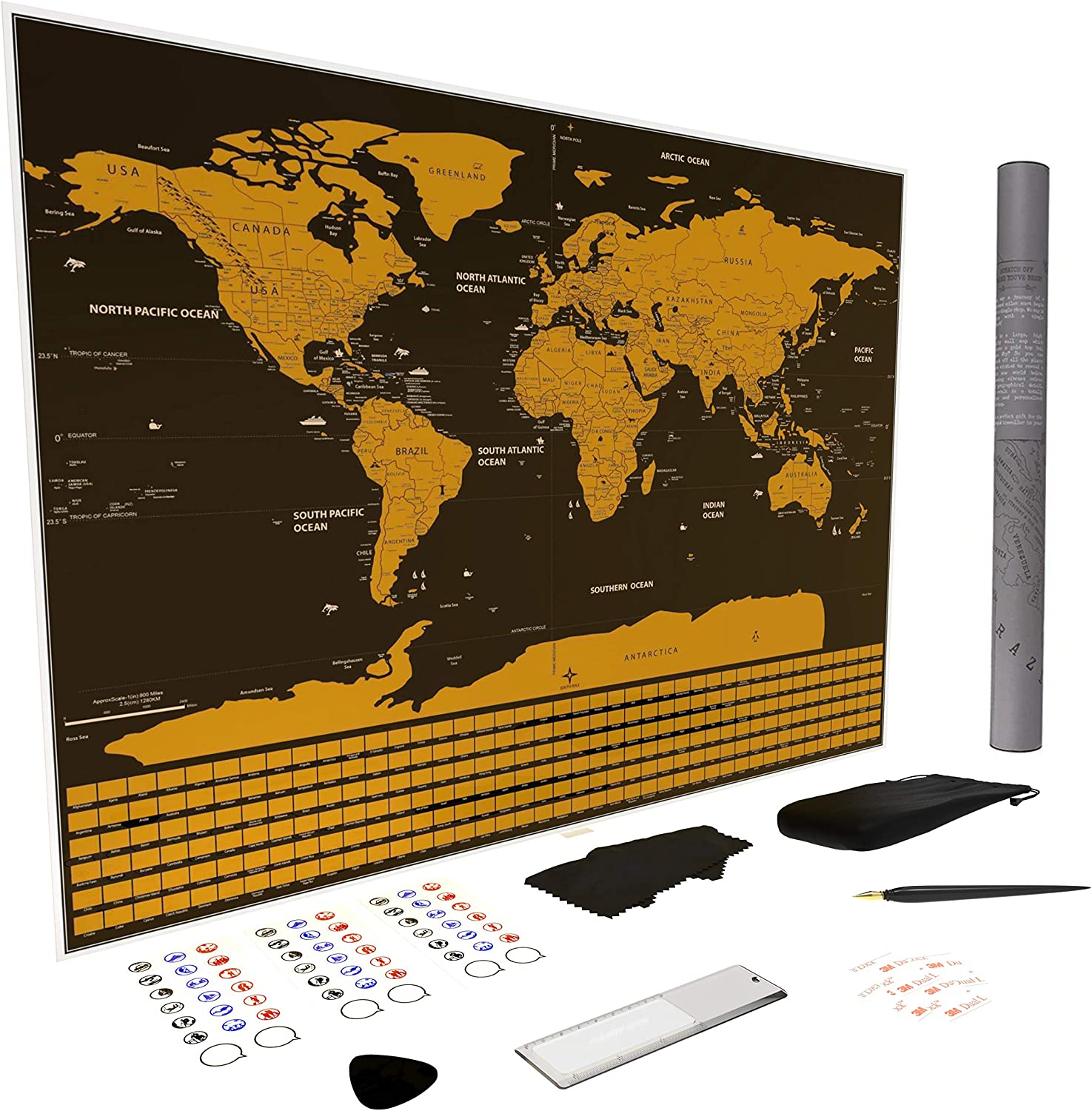 Atlas Maps World Map Scratch Off | 33x24 Huge Framable Poster Gift with Deluxe Accessories Set | Large Travel Scratchable is Perfect for Office or Home Decor | Unique Premium Traveler Art