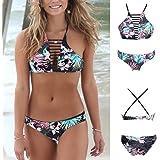 Sexy Push up Padded Brazilian Style Criss Cross Floral Printing Two Piece Bikini
