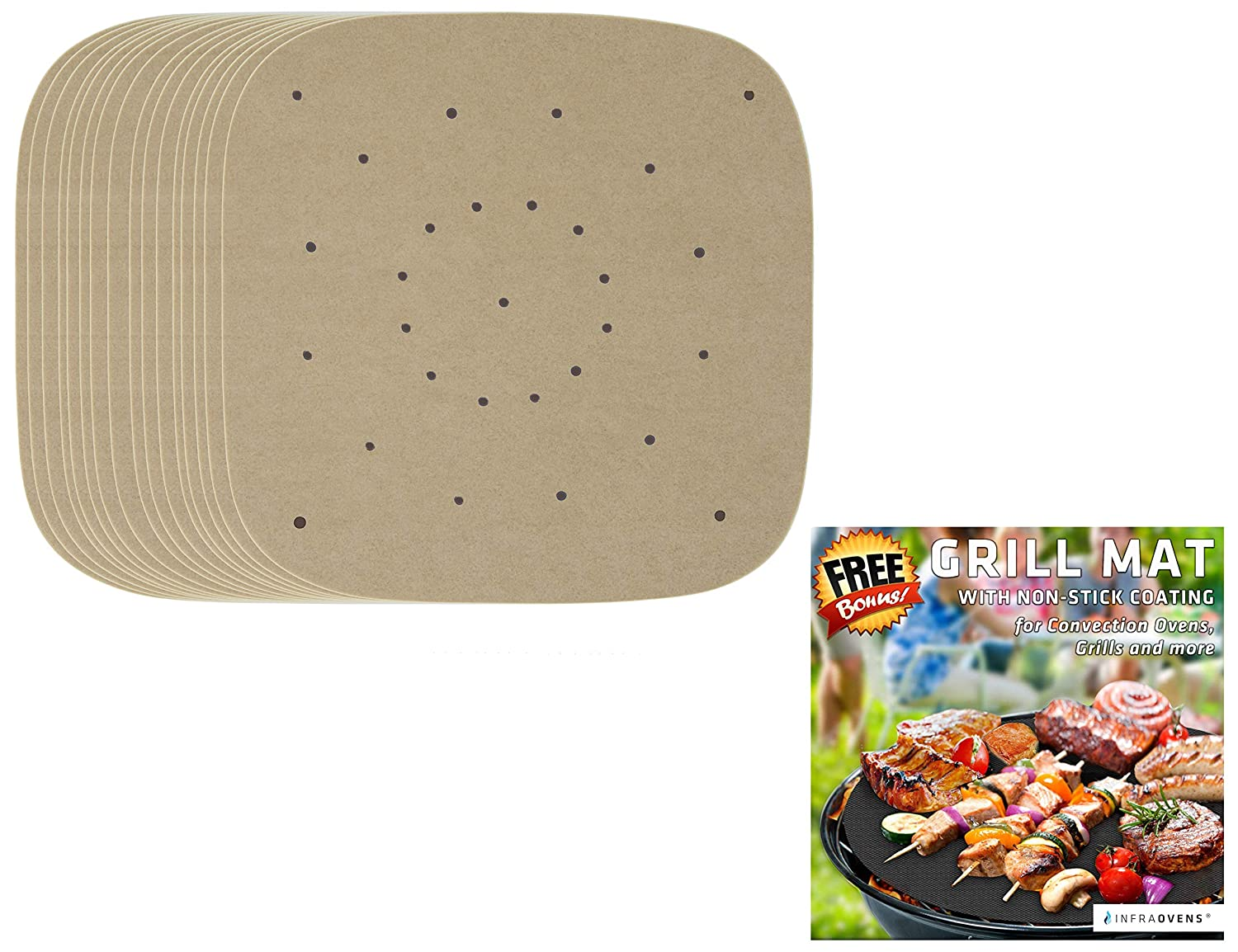 100pcs Square Air Fryer Parchment Paper Sheets for baking + Non-Stick Grill Mat Compatible with Chefman, Chef di Cucina, Maxi Matic | Steam Paper Liner by Infraovens (Large to XL)