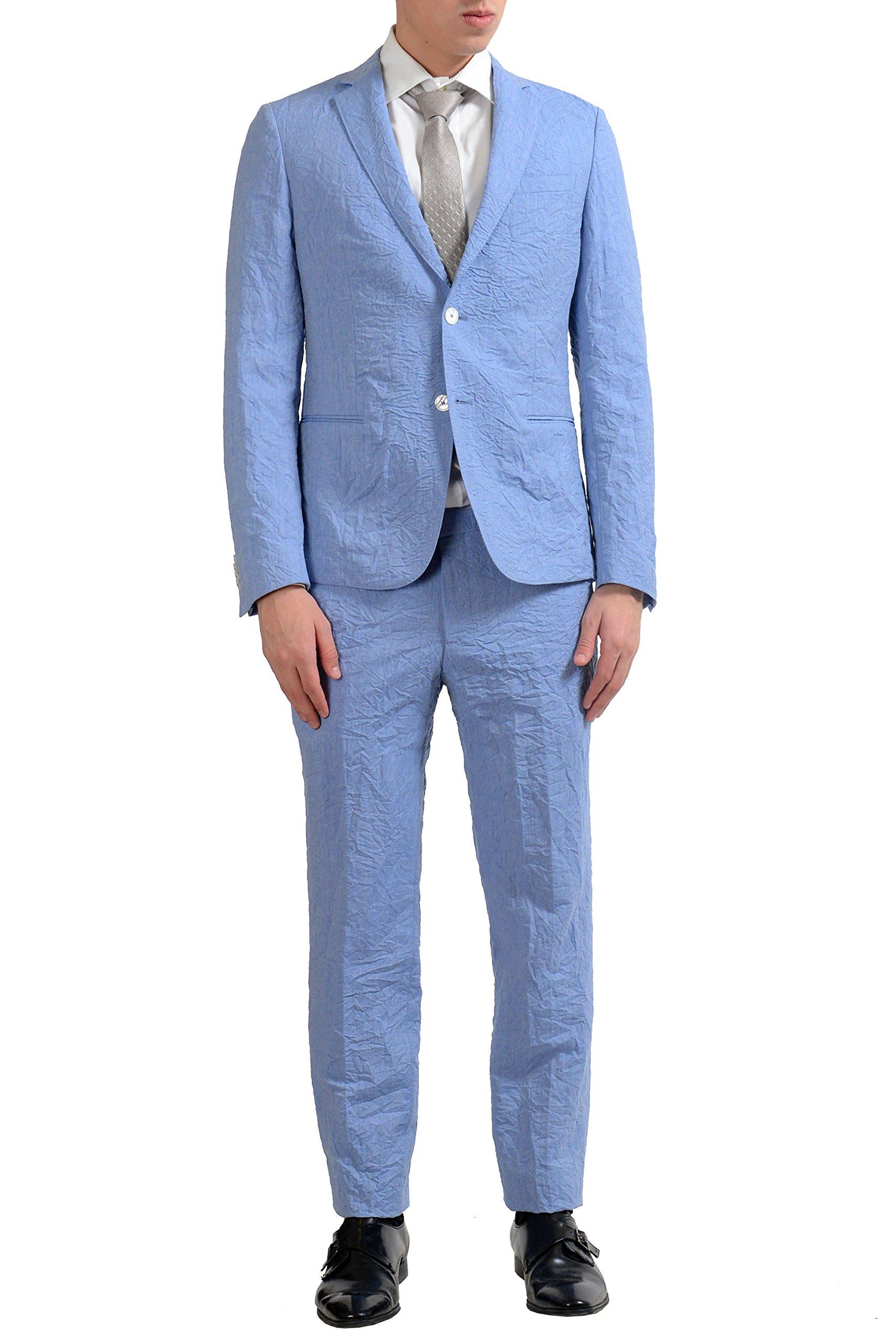 Hugo Boss ''Nivan/Benno1'' Men's Linen Wool Travel Two Button Suit US 38R IT 48R