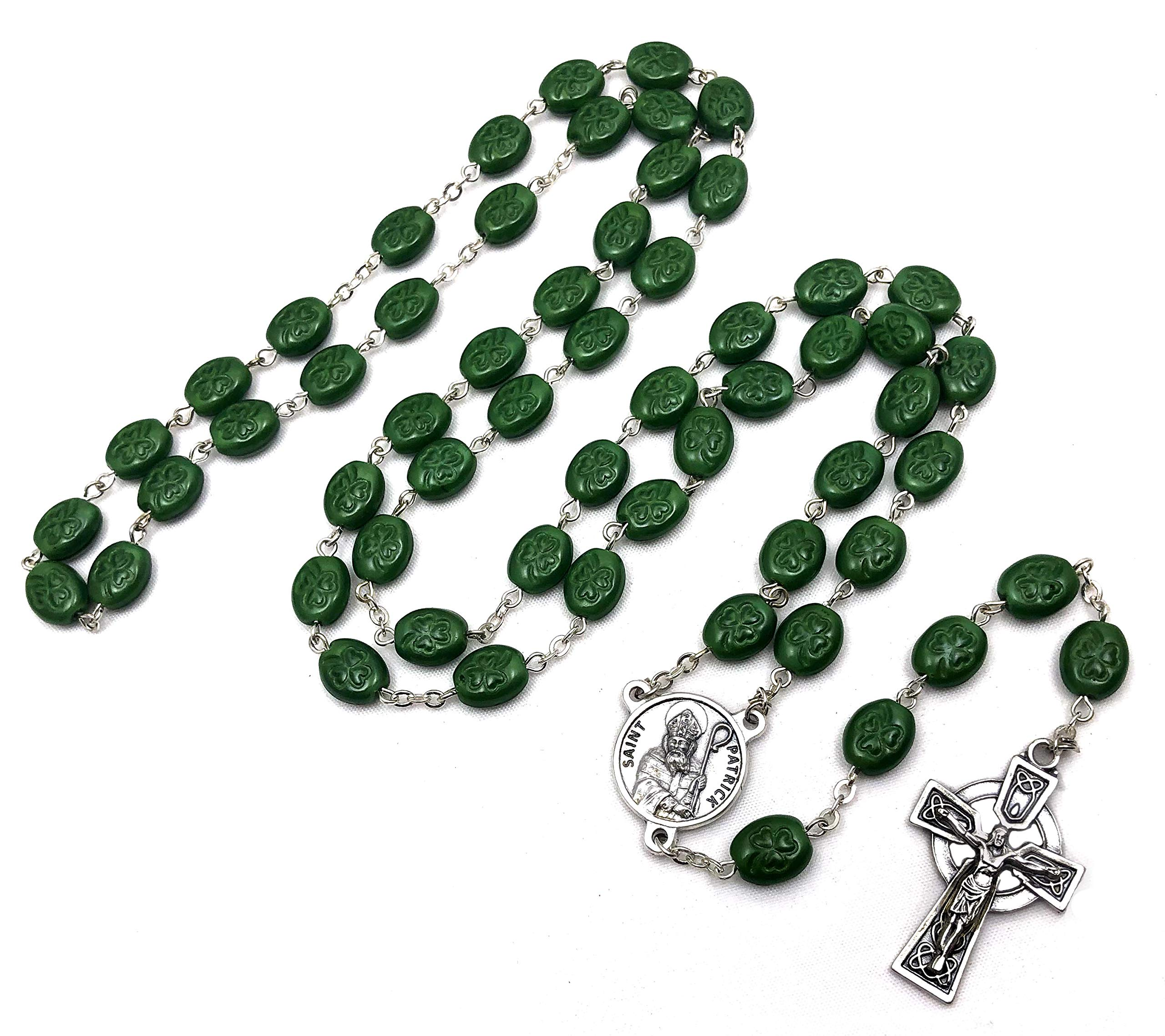 Elysian Gift Shop 24'' Irish Shamrock Beads Green Rosary with Silver Tone Celtic Cross and St. Patrick Medal Centerpiece