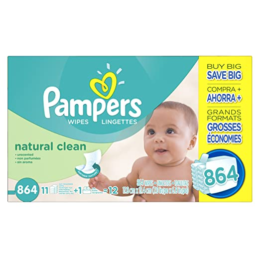 [Amazon]Pampers Natural Clean Wipes 12x Box with Tub, 864 Count $13.99