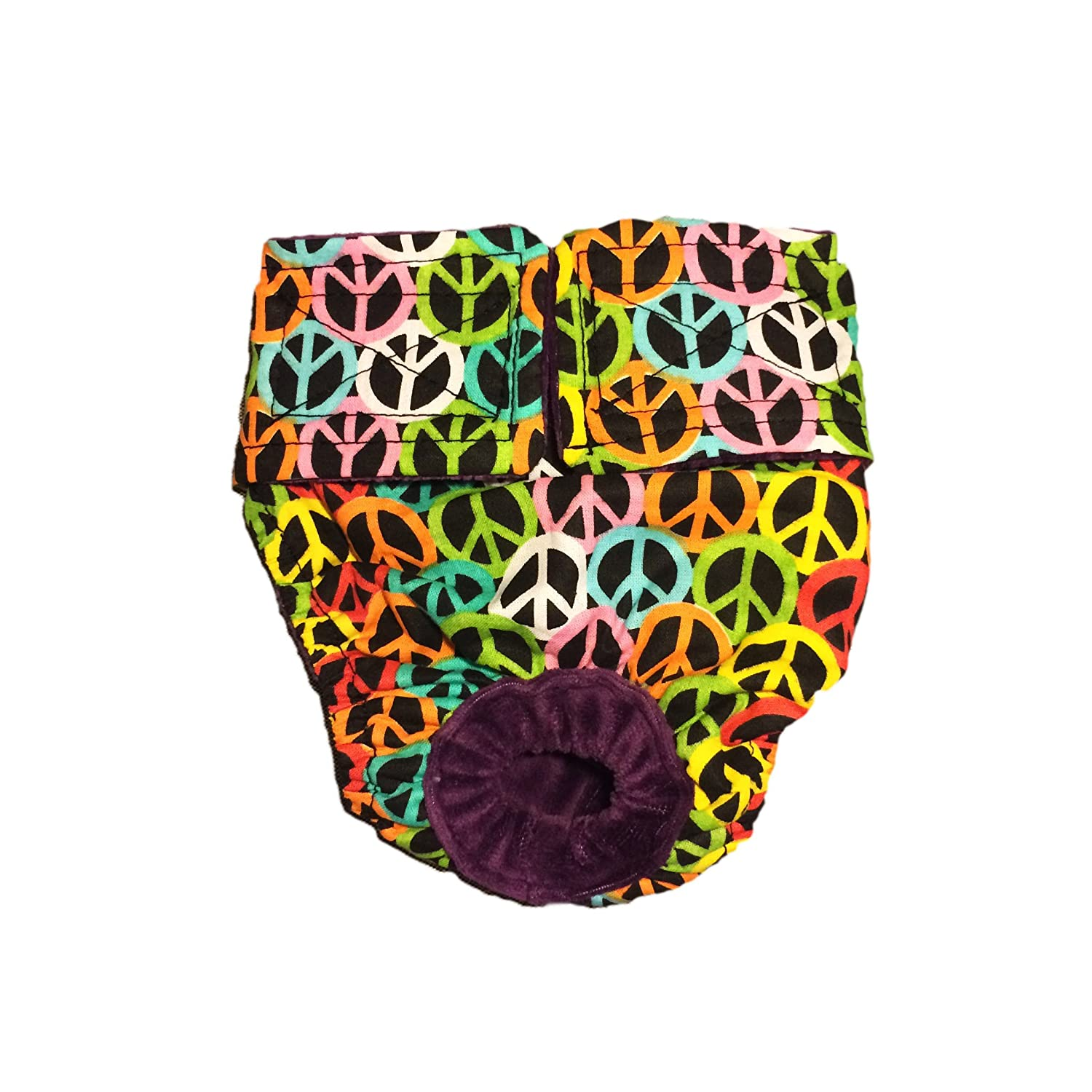 outlet Dog Diapers - Made in USA - Colorful Peace Washable Dog Diaper for Incontinence, Housetraining and Dogs in Heat