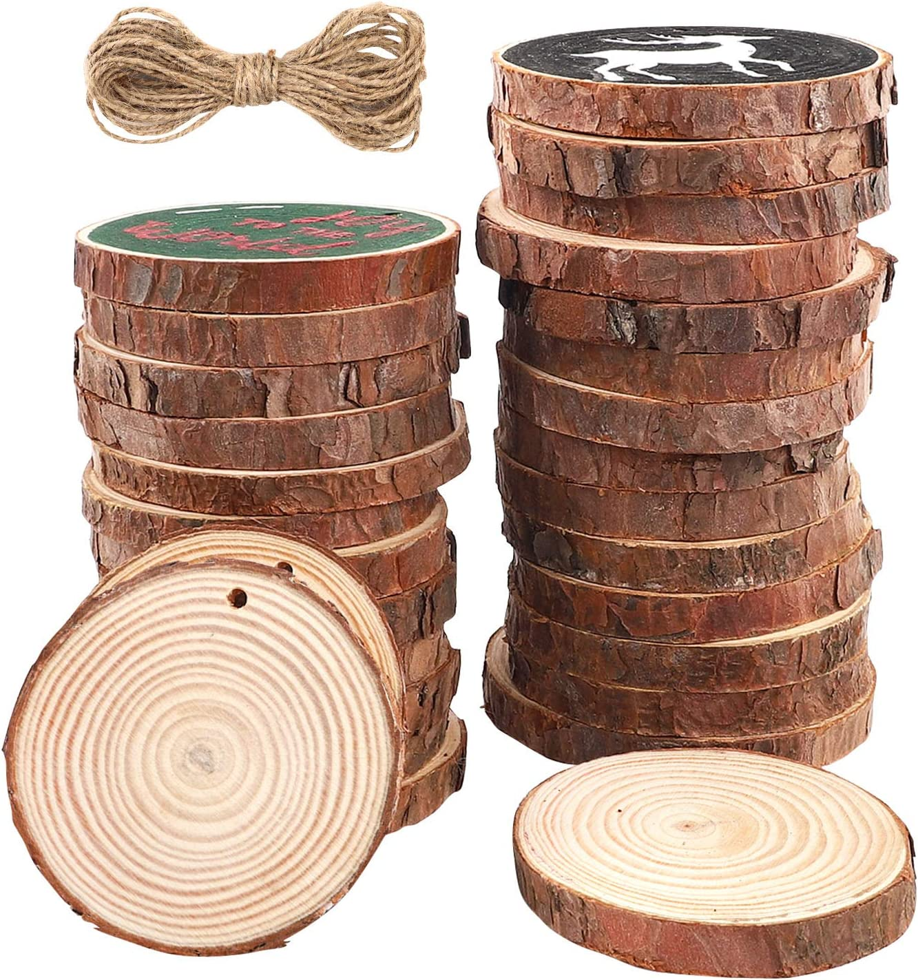 Funarty Natural Wood Slices 36pcs 3.1-3.5 Inches Craft Wood Kit Unfinished Predrilled with Hole Wooden Circles for Arts Christmas Ornaments DIY Crafts