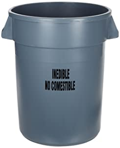 Rubbermaid Commercial FG263256GRAY Brute Plastic Trash Can without Lid, 32-gallon, Gray