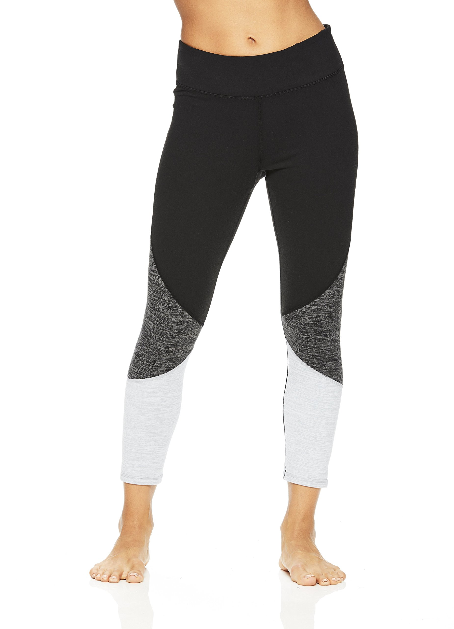 Gaiam Women's Capri Yoga Pants - Performance Spandex Compression Legging - Black Heather Mix, X-Small