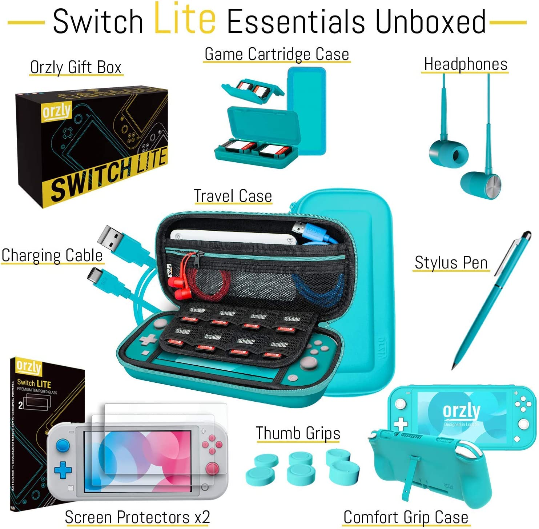Orzly Paquete de Accesorios para Nintendo Switch Lite – Incluye: Protectores de Pantalla & Funda para Switch Lite Consola, Funda Comfort Grip, Cable USB, Auriculares y más. (Turquesa): Amazon.es: Electrónica