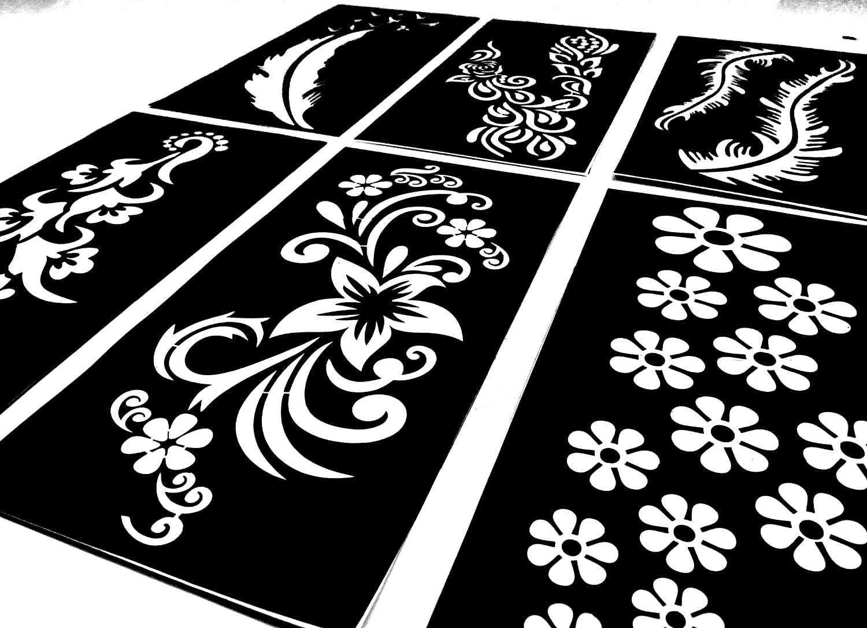 Temporary Tattoo Stencils Templates Stickers Waterproof Adhesive