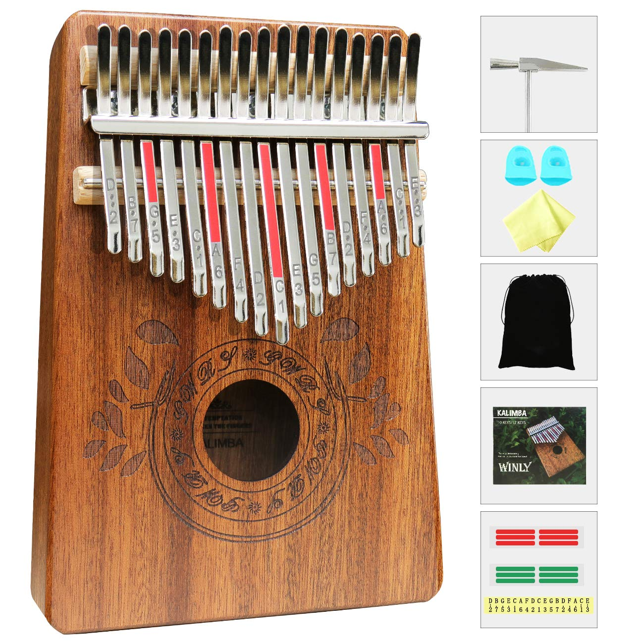 Kalimba 17 Keys Thumb Piano with Study Instruction and Tune Hammer, Portable Mbira Sanza African Wood Finger Piano for Kids Adult Beginners.
