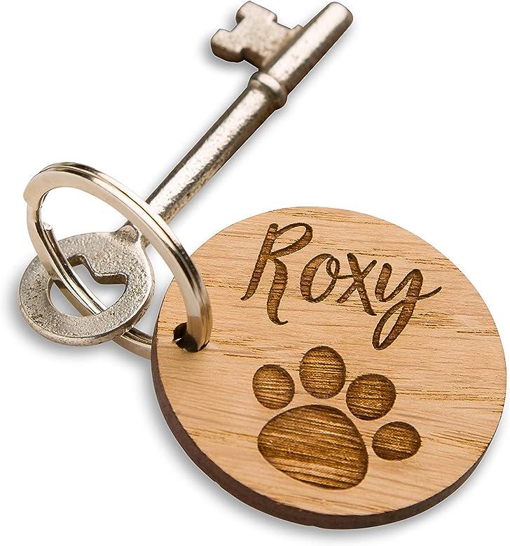 Dog Paw Footprint Pet Animal Heart Round Pendant Keyring Keychain Gift Key Rings