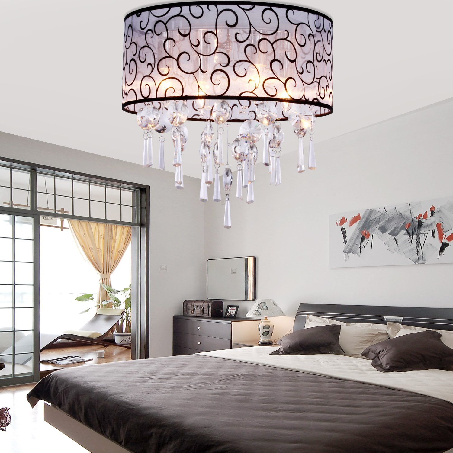 Lightinthebox elegant transparent crystal chandelier with 4 lights lightinthebox elegant transparent crystal chandelier with 4 lights drum flush mount modern ceiling light fixture for bedroom living room bulb not included mozeypictures Image collections
