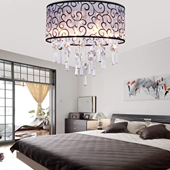 LightInTheBox Elegant Transparent Crystal Chandelier With 4 Lights, Drum  Flush Mount Modern Ceiling Light Fixture