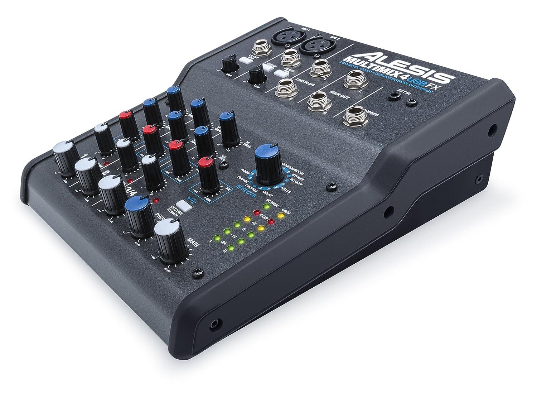 Alesis MultiMix 4 USB FX - Mesa de mezcla de 4 canales con efectos, interfaz de audio USB y entradas de micrófono, línea y guitarra, mezclador de estudio, ...