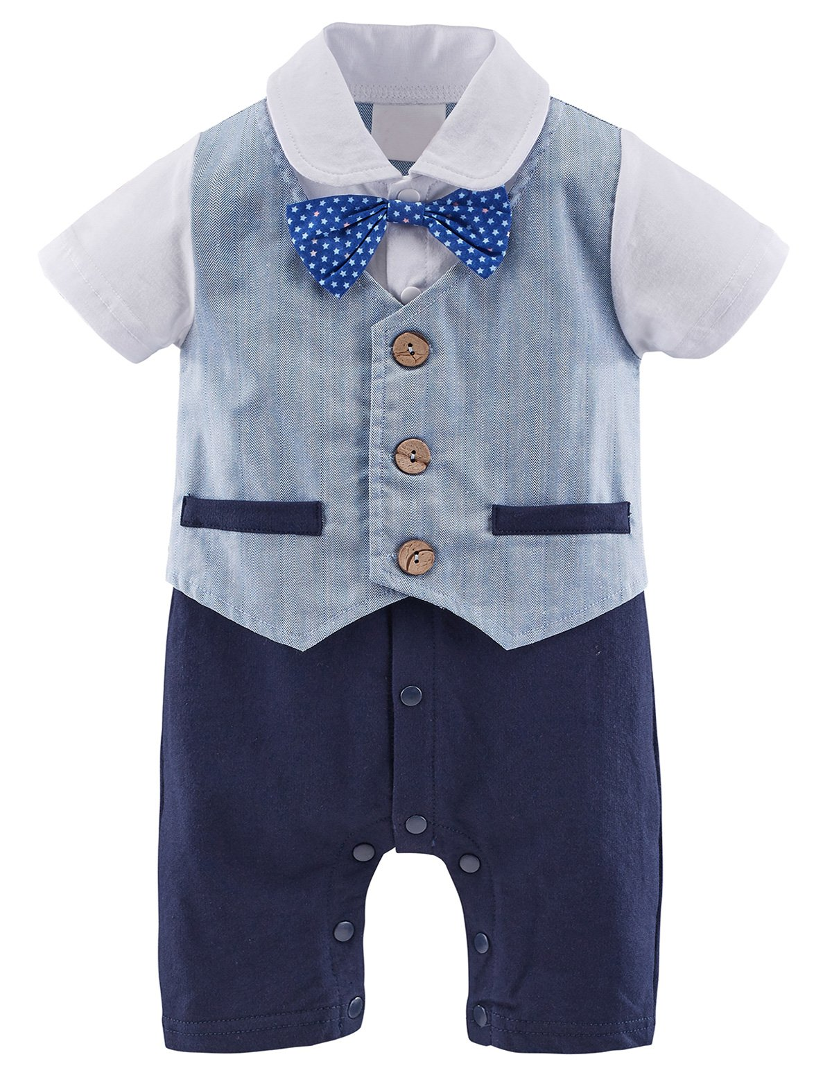 Mombebe Baby Boys' Tuxedo Gentleman Romper Outfit with Bowknot (12-18 Months, Blue)